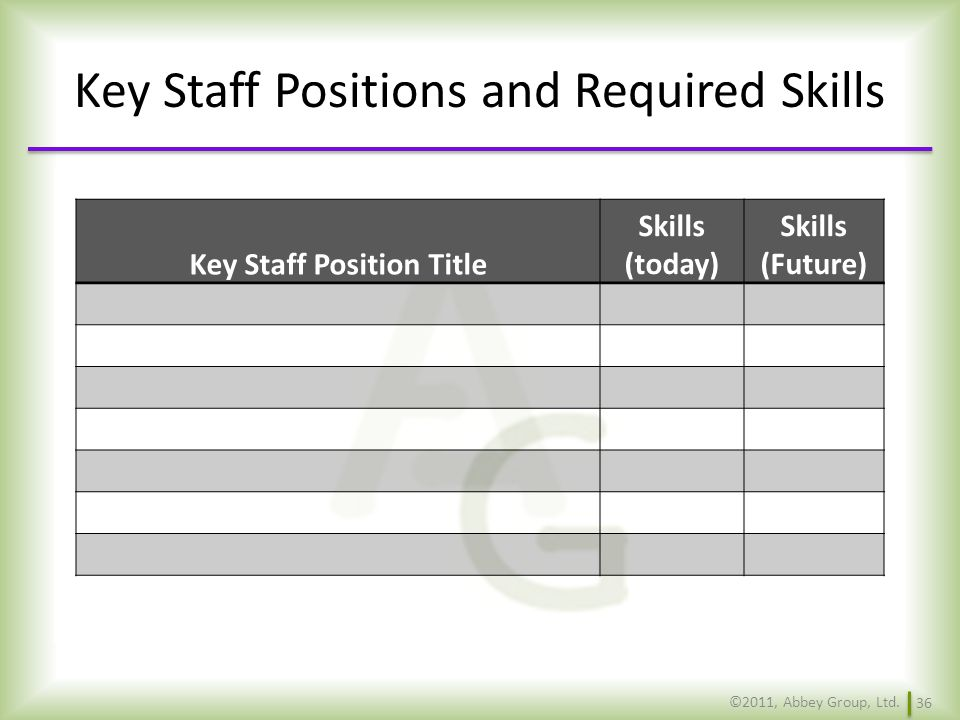 Key Staff Positions and Required Skills