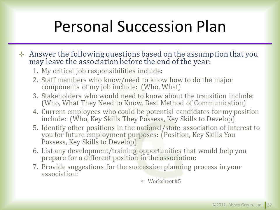 Personal Succession Plan