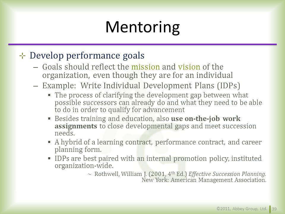 Mentoring Develop performance goals