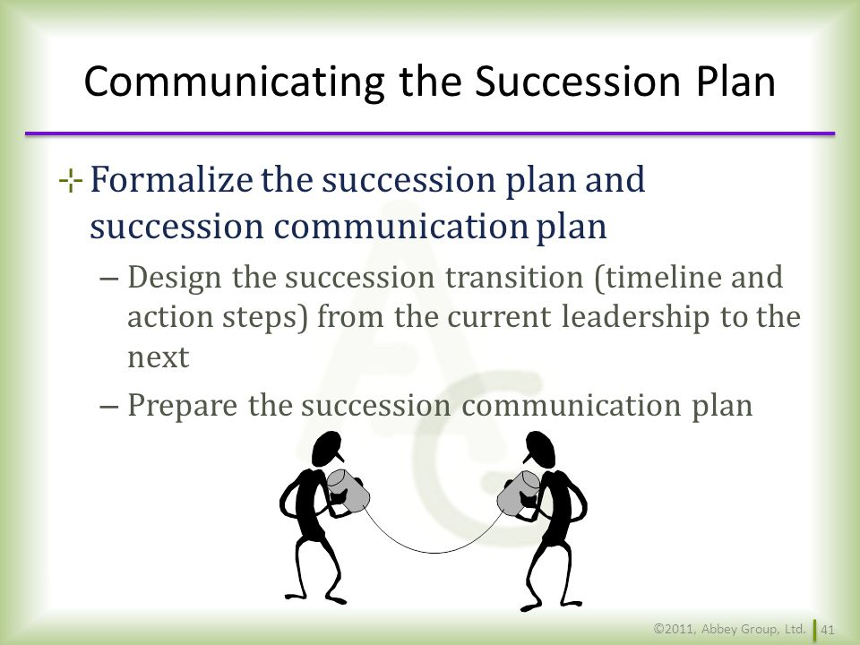 Communicating the Succession Plan