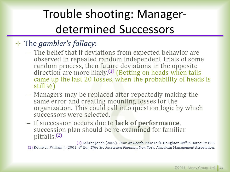 Trouble shooting: Manager-determined Successors