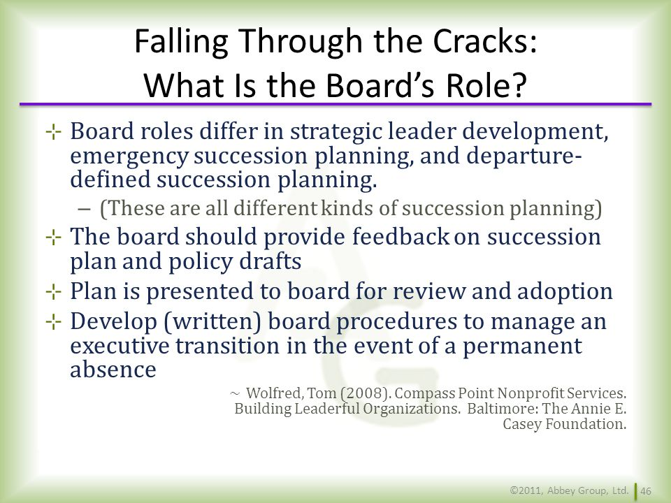 Falling Through the Cracks: What Is the Board's Role
