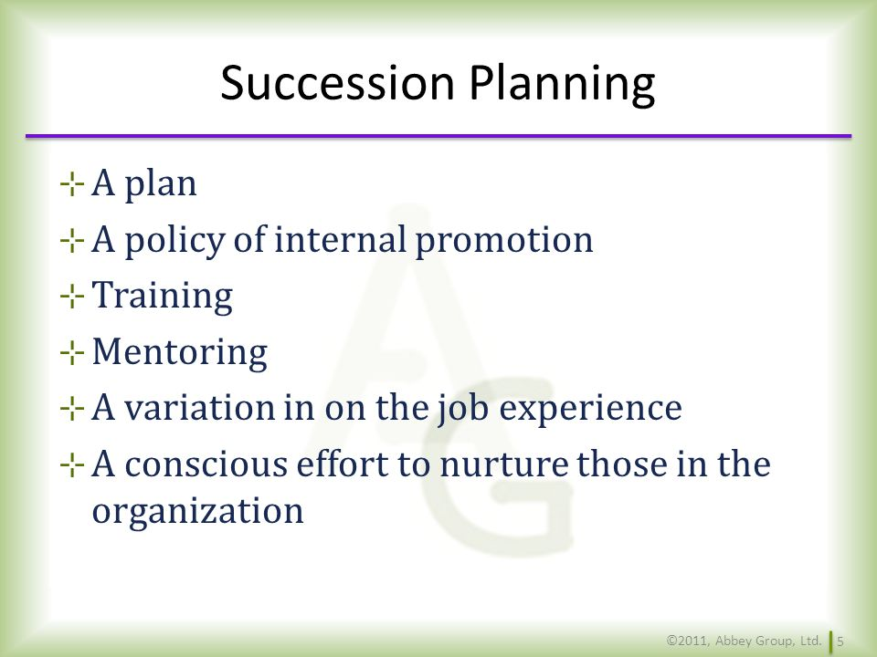 Succession Planning A plan A policy of internal promotion Training