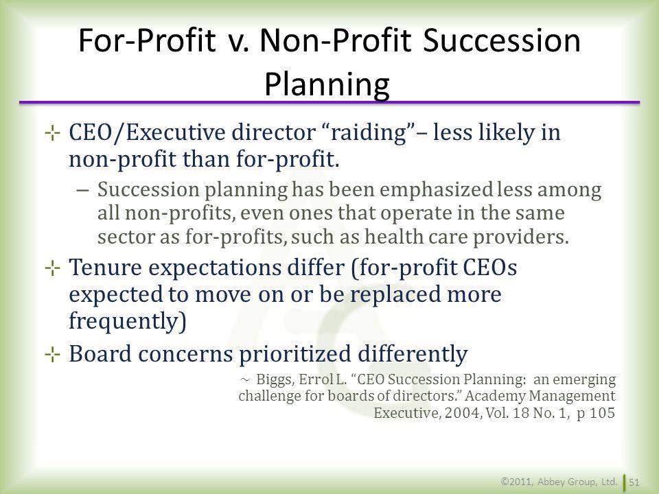 For-Profit v. Non-Profit Succession Planning