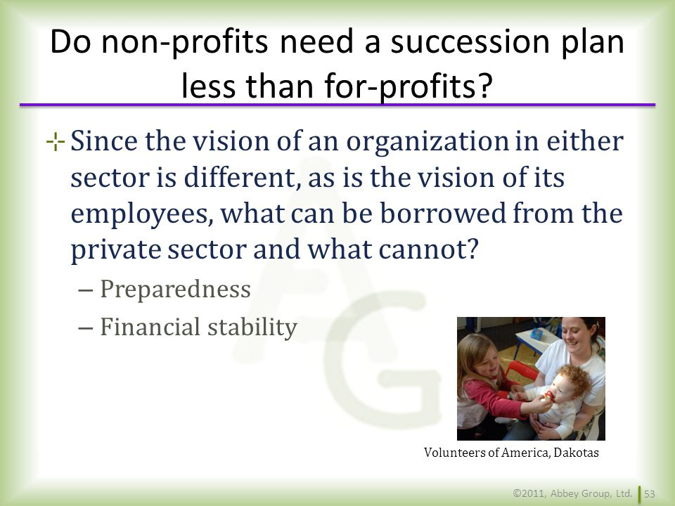 Do non-profits need a succession plan less than for-profits
