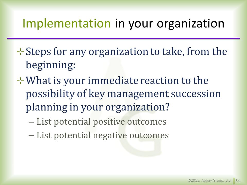 Implementation in your organization