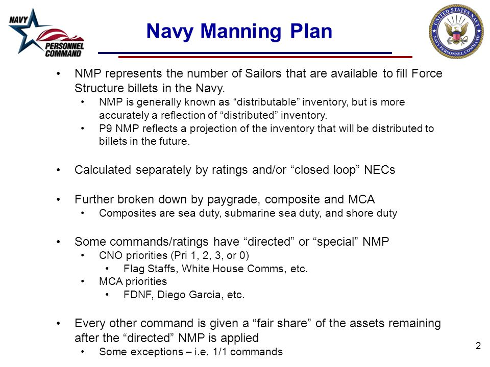 Navy Manning Plan NMP represents the number of Sailors that are available to fill Force Structure billets in the Navy.