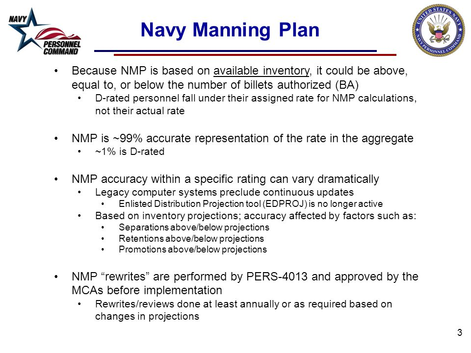 Navy Manning Plan Because NMP is based on available inventory, it could be above, equal to, or below the number of billets authorized (BA)