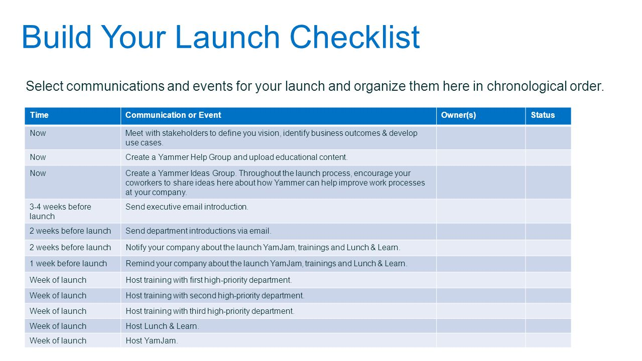 Build Your Launch Checklist