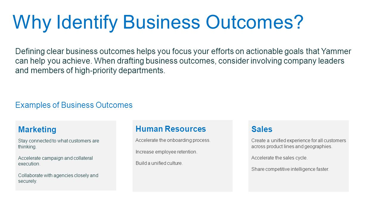 Why Identify Business Outcomes