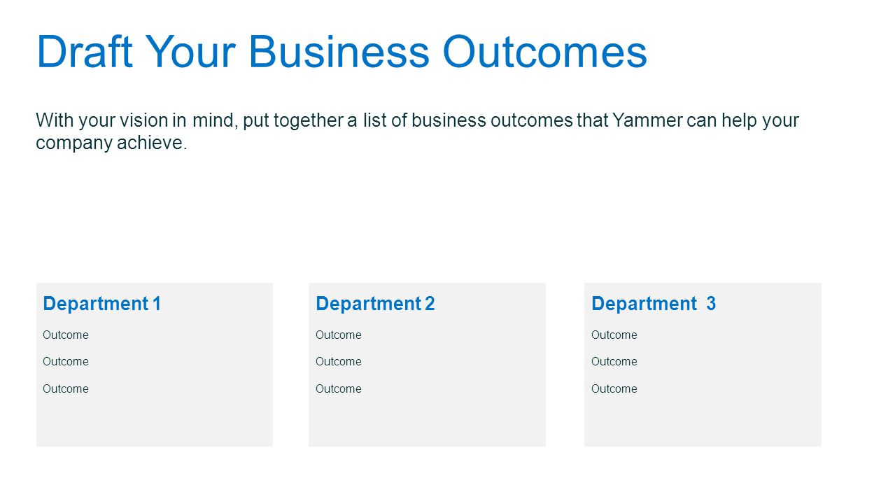 Draft Your Business Outcomes