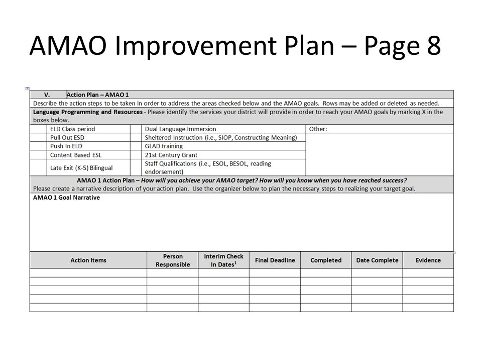AMAO Improvement Plan – Page 8