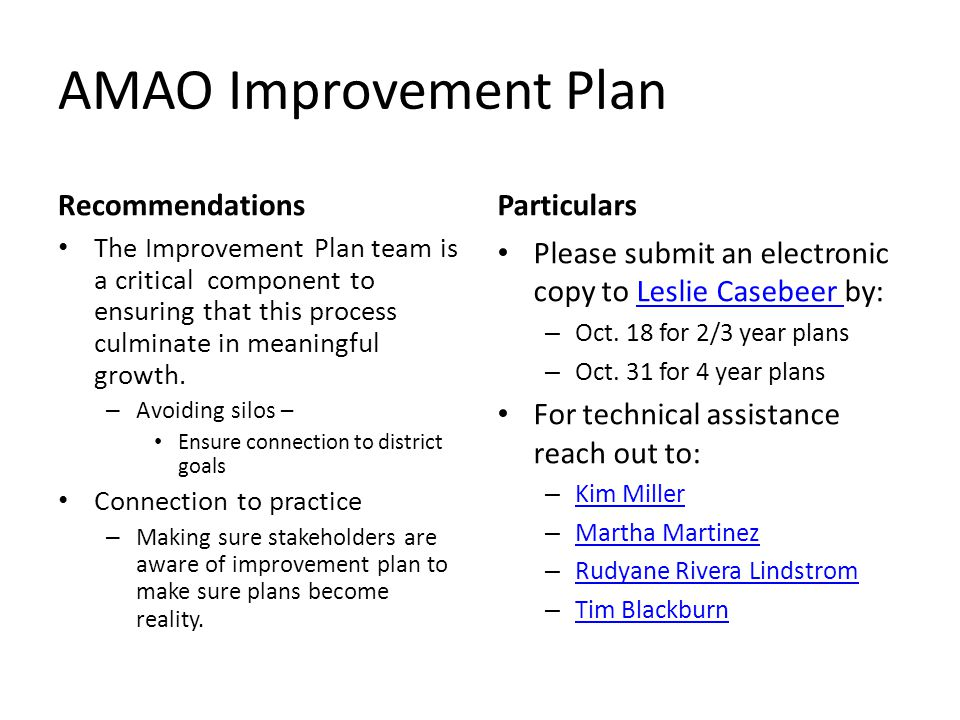 AMAO Improvement Plan Recommendations Particulars