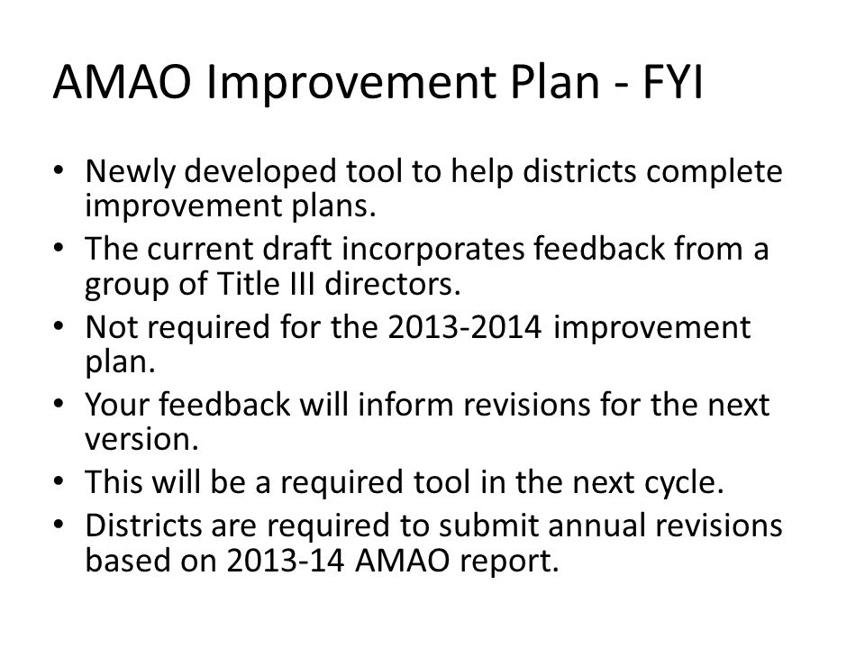 AMAO Improvement Plan - FYI