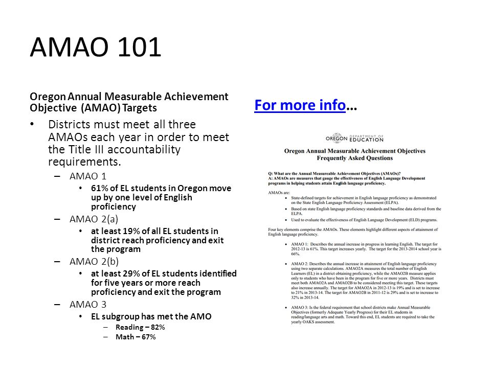 AMAO 101 Oregon Annual Measurable Achievement Objective (AMAO) Targets. For more info…