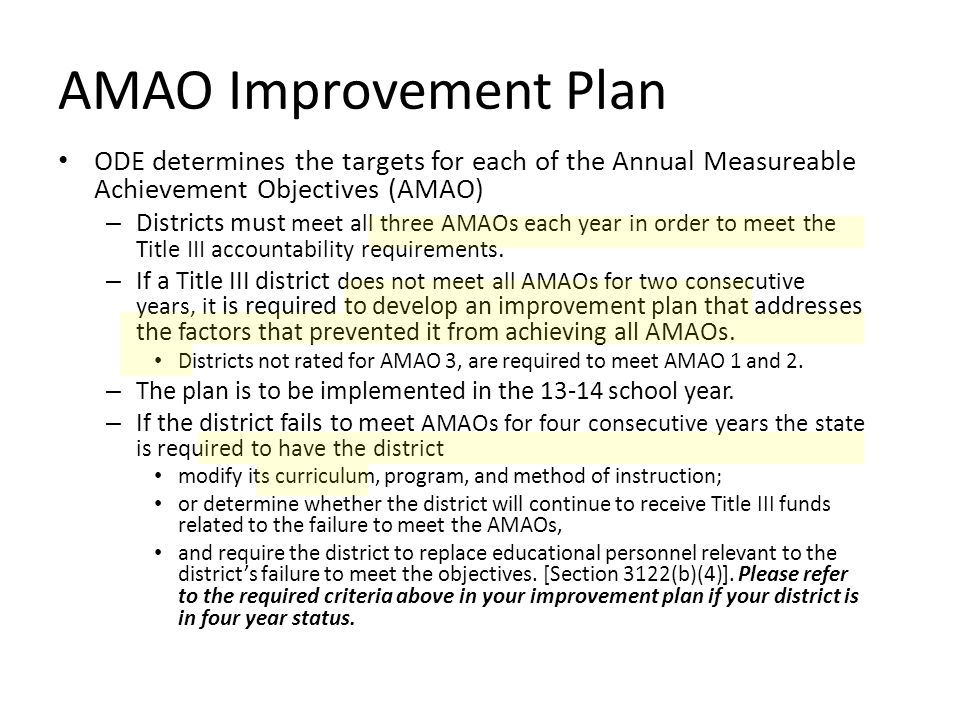 AMAO Improvement Plan Context