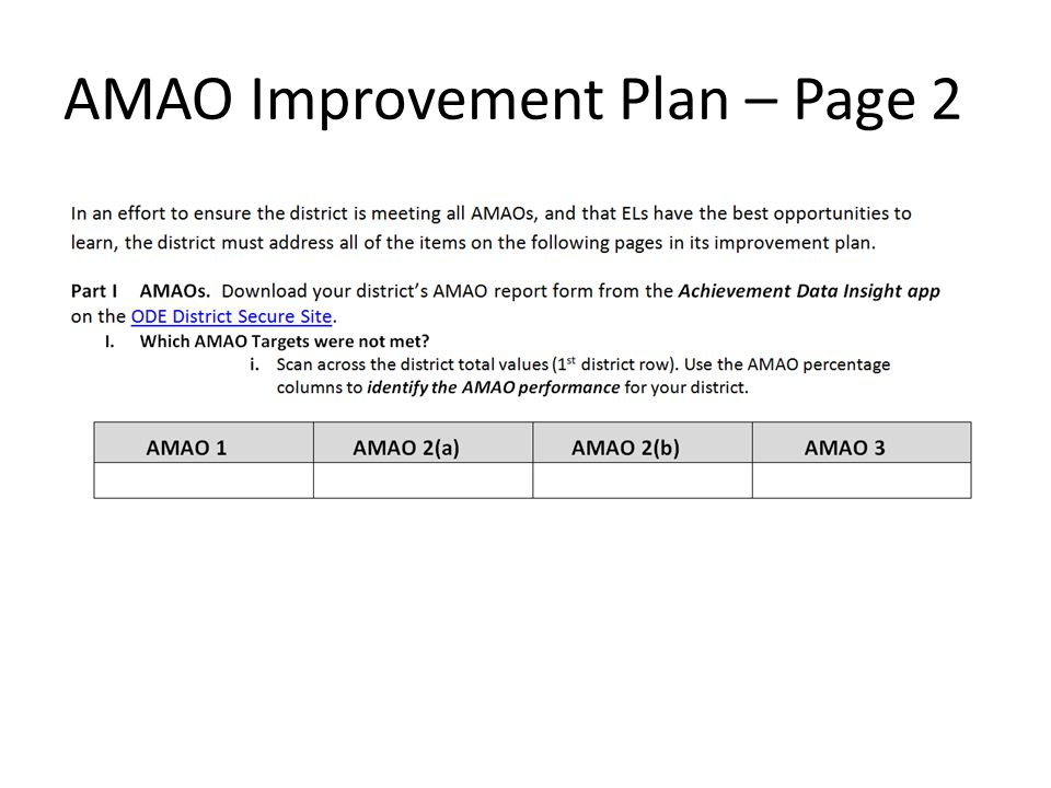 AMAO Improvement Plan – Page 2