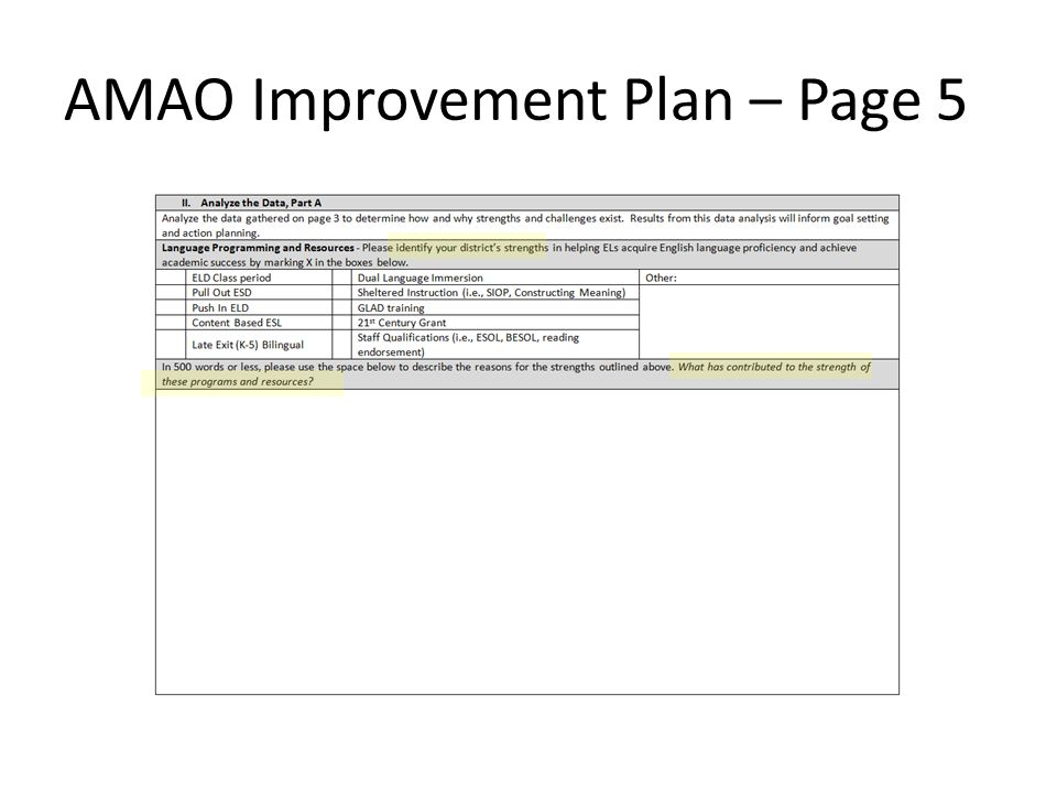 AMAO Improvement Plan – Page 5