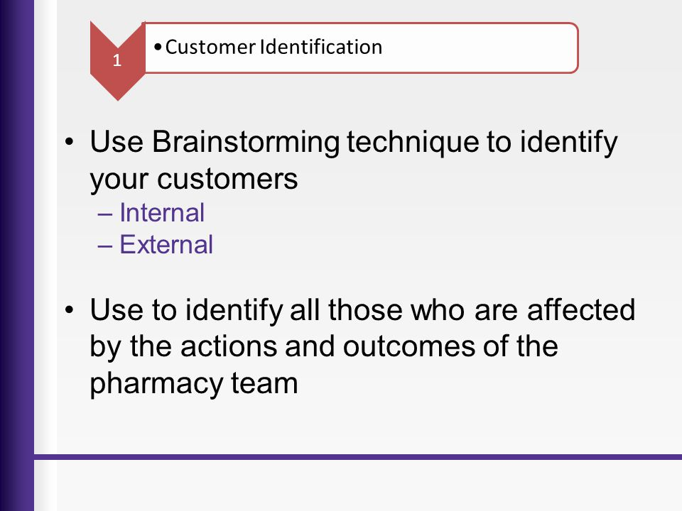 Use Brainstorming technique to identify your customers