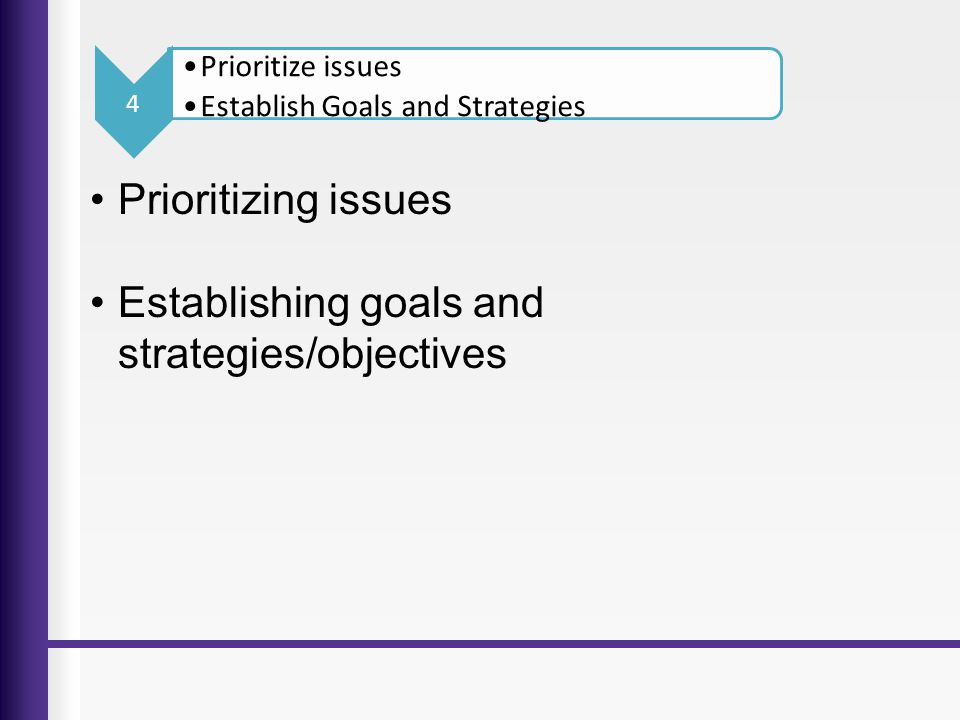 Establishing goals and strategies/objectives
