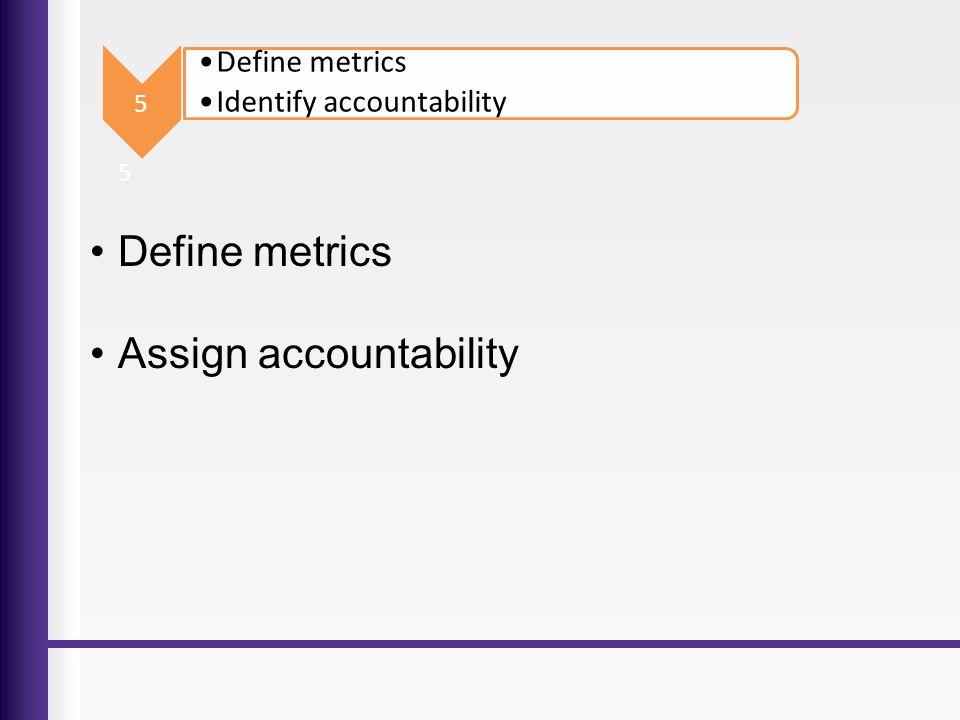 Assign accountability