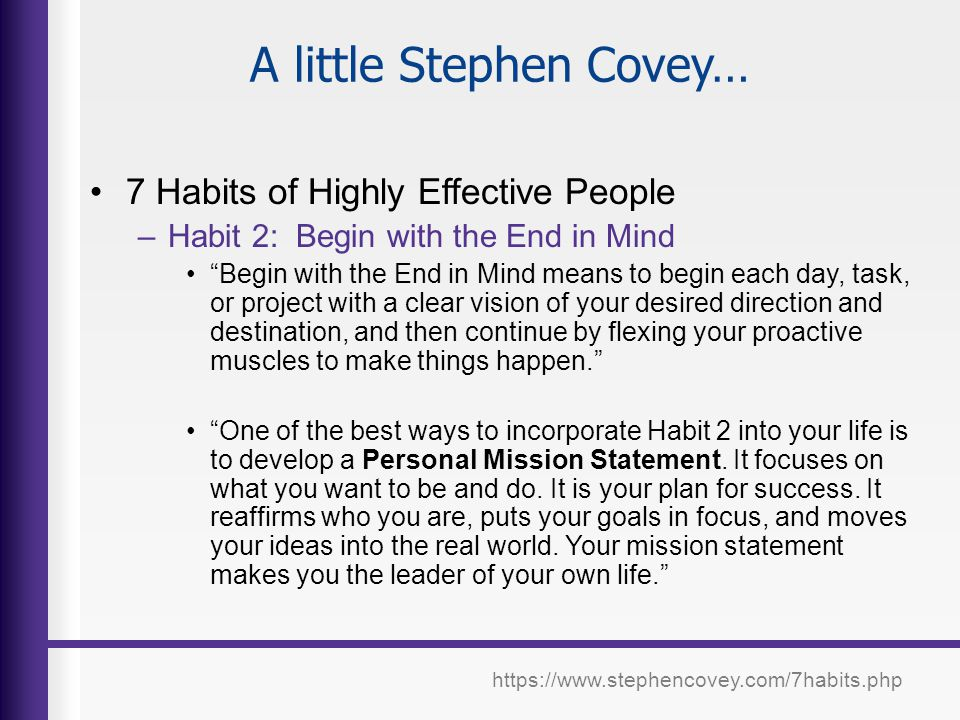 A little Stephen Covey…