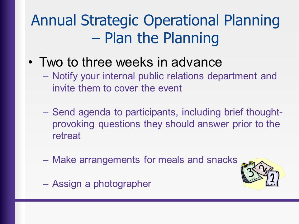 Annual Strategic Operational Planning – Plan the Planning