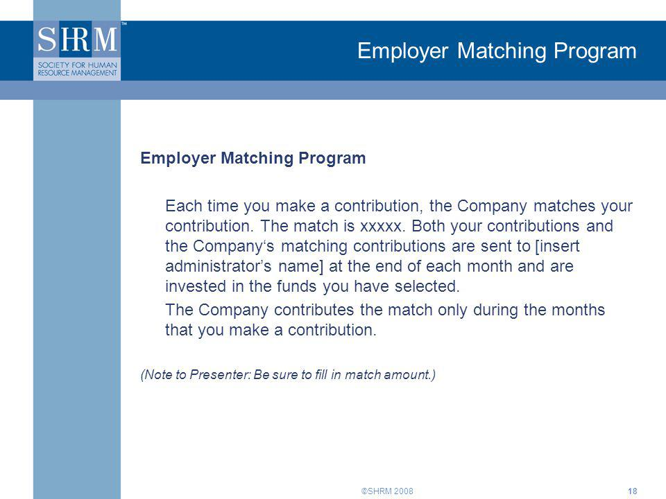 Employer Matching Program