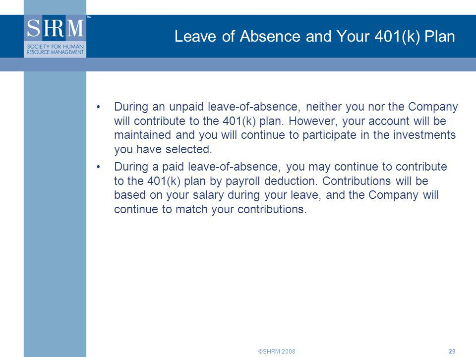 Leave of Absence and Your 401(k) Plan