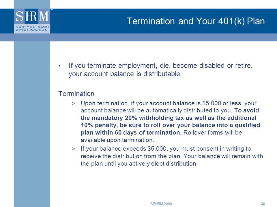 Termination and Your 401(k) Plan