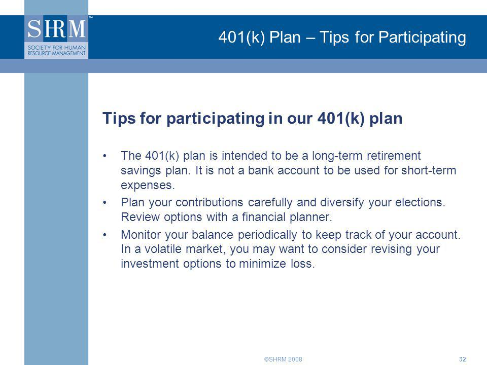 401(k) Plan – Tips for Participating