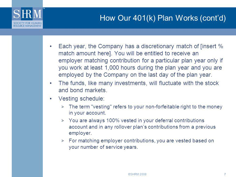 How Our 401(k) Plan Works (cont'd)