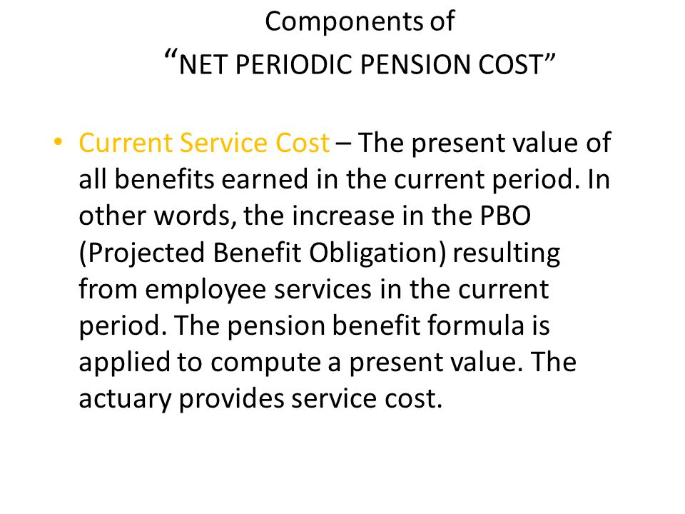 Components of NET PERIODIC PENSION COST