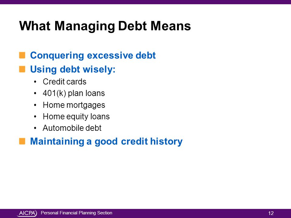 What Managing Debt Means