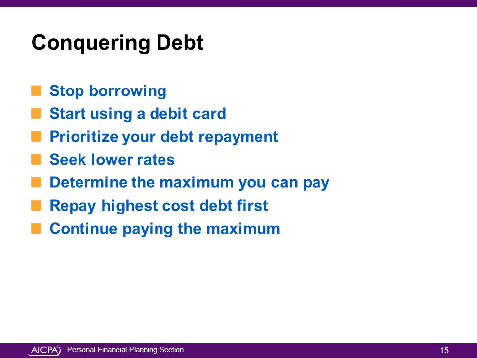 Conquering Debt Stop borrowing Start using a debit card