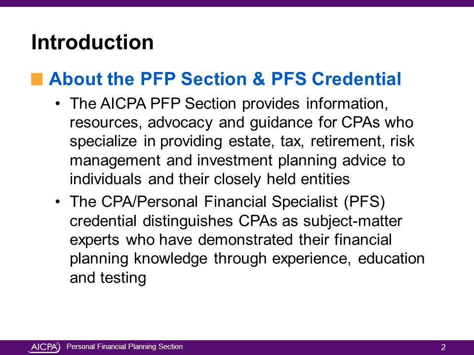 Introduction About the PFP Section & PFS Credential
