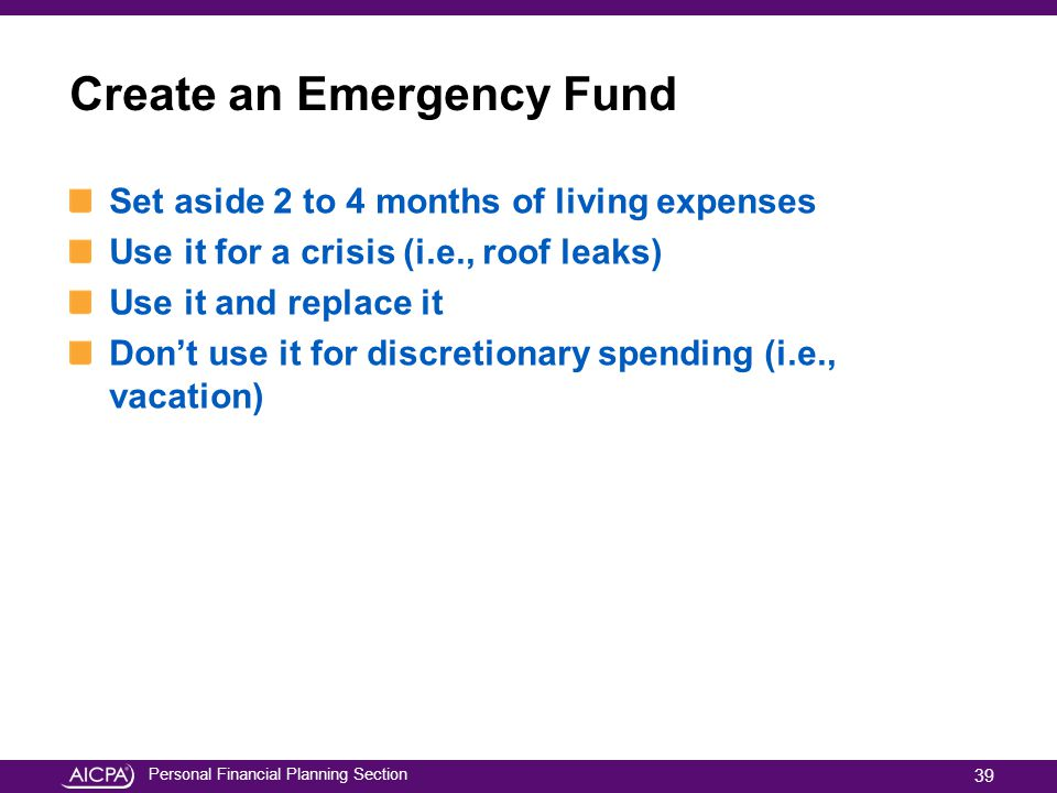 Create an Emergency Fund