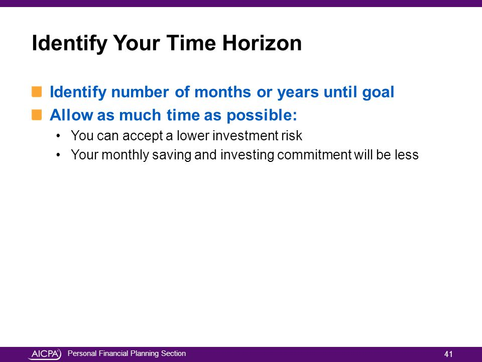 Identify Your Time Horizon