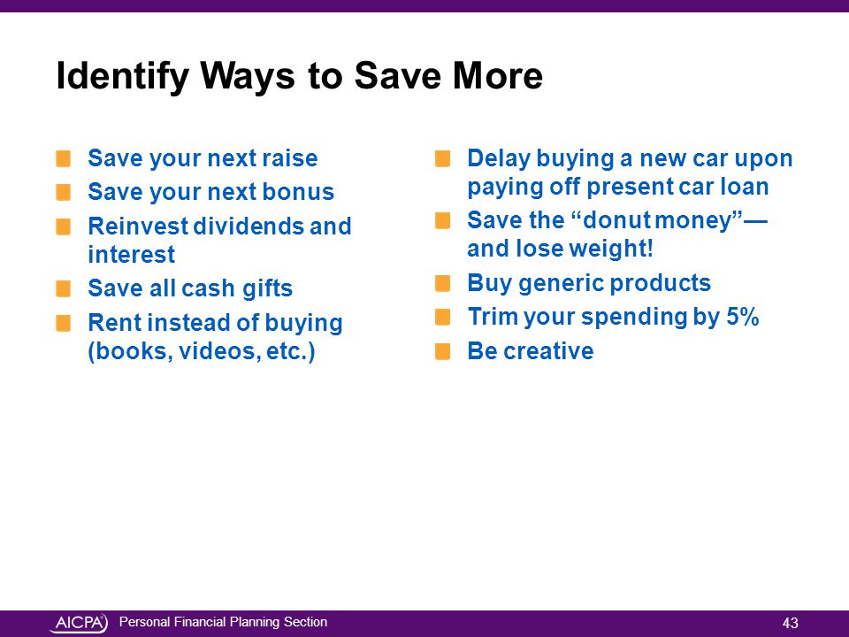 Identify Ways to Save More
