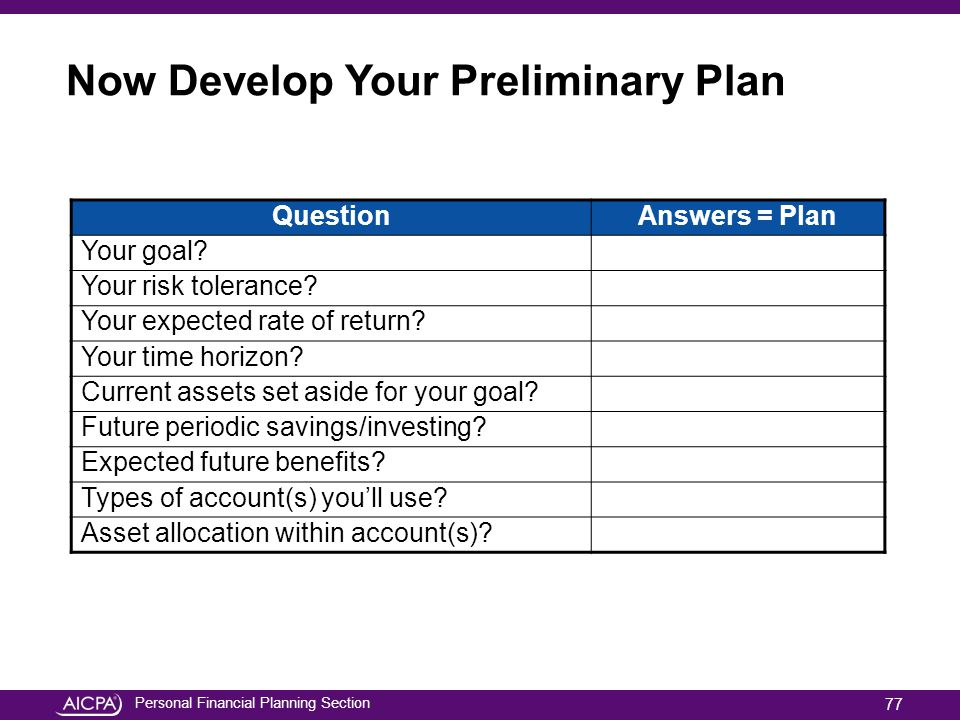 Now Develop Your Preliminary Plan