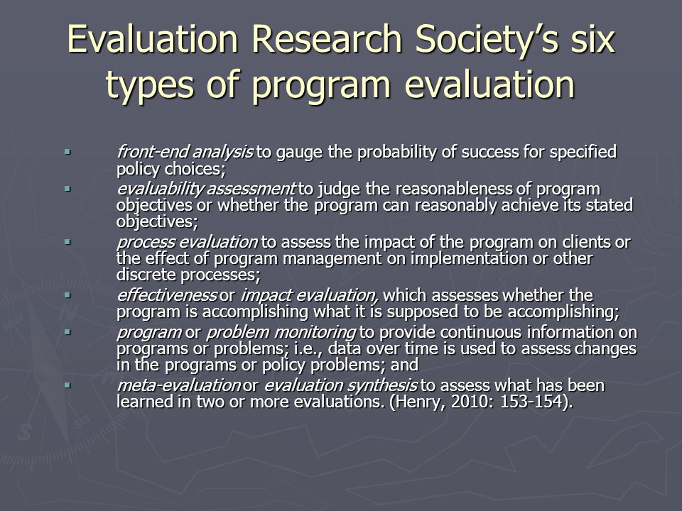 Evaluation Research Society's six types of program evaluation
