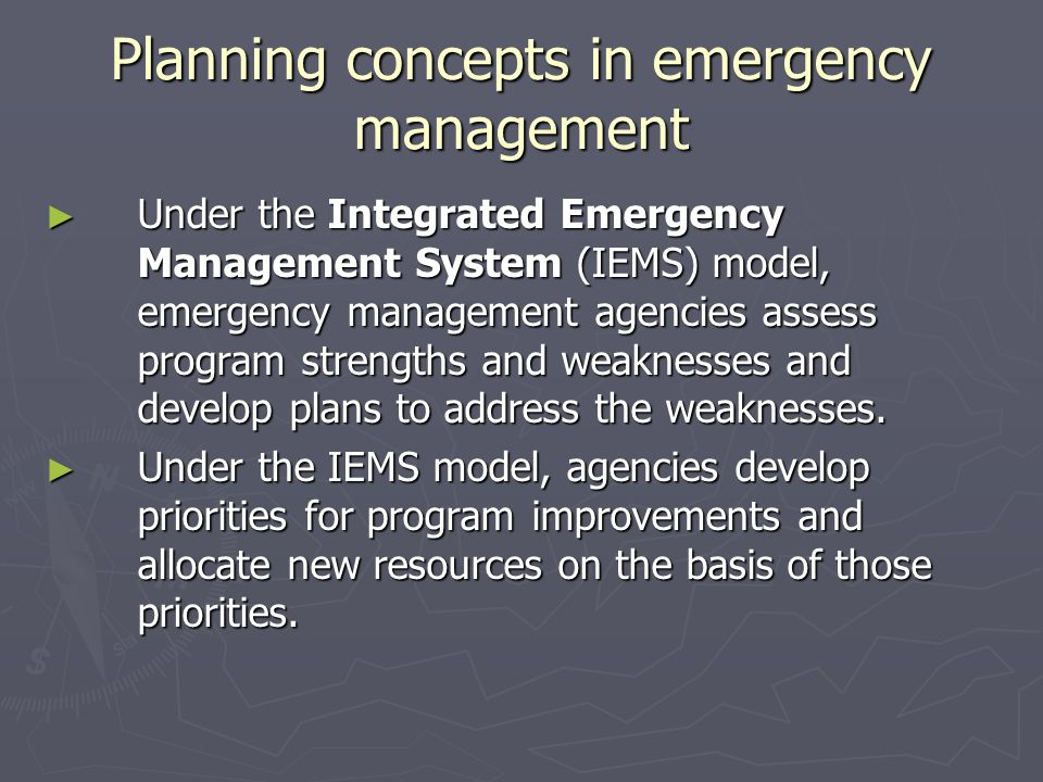 Planning concepts in emergency management