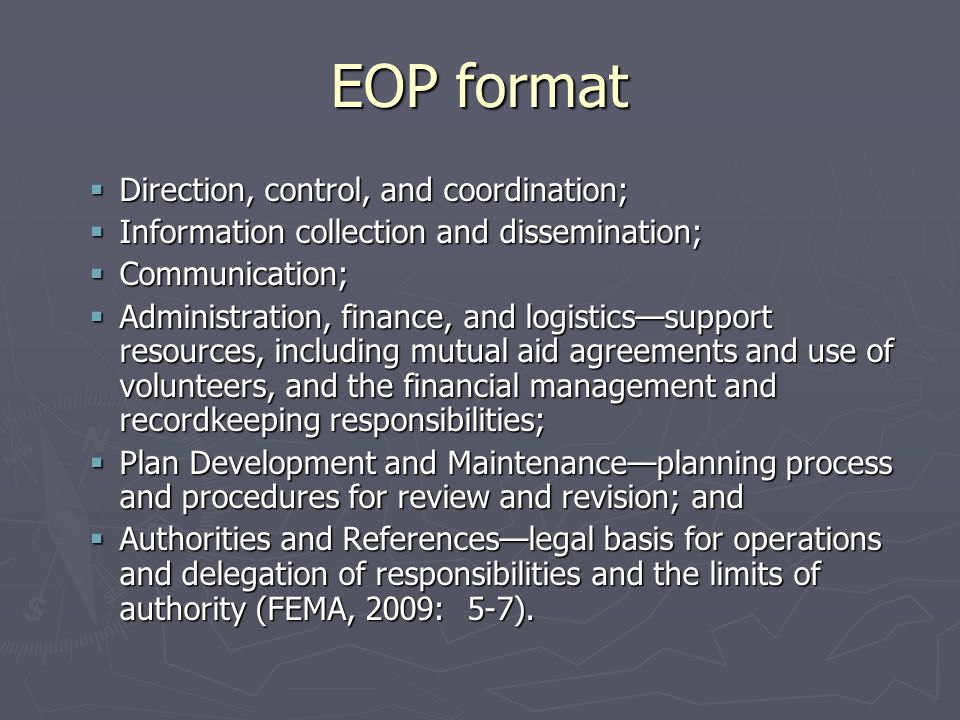 EOP format Direction, control, and coordination;