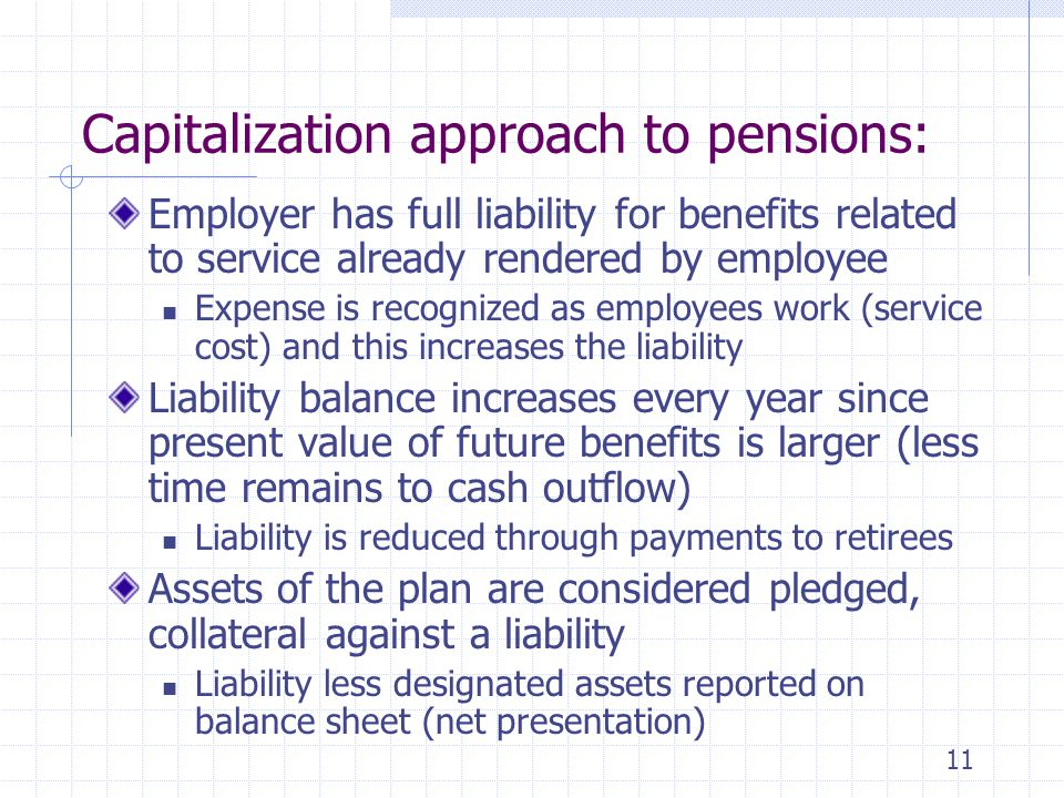 Capitalization approach to pensions: