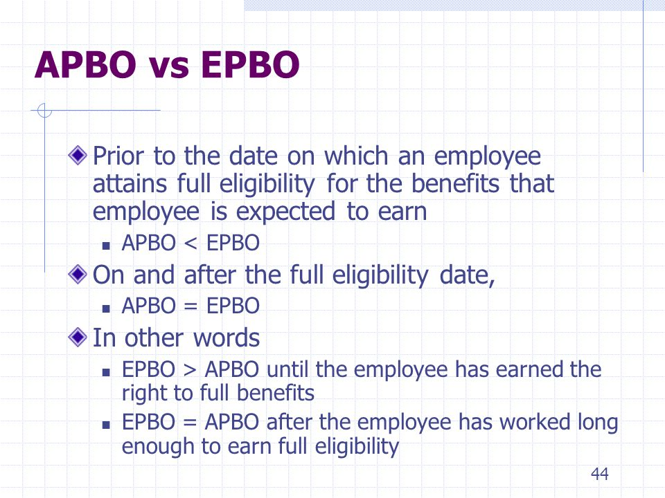 4/1/2017 APBO vs EPBO. Prior to the date on which an employee attains full eligibility for the benefits that employee is expected to earn.