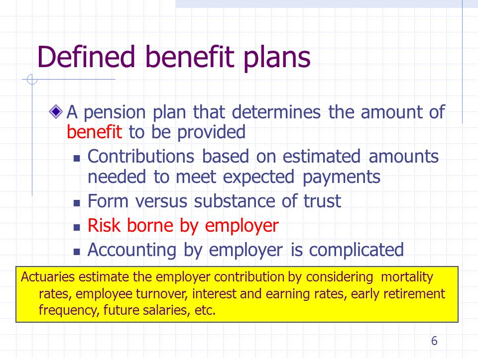 4/1/2017 Defined benefit plans. A pension plan that determines the amount of benefit to be provided.