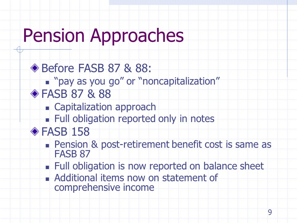 Pension Approaches Before FASB 87 & 88: FASB 87 & 88 FASB 158
