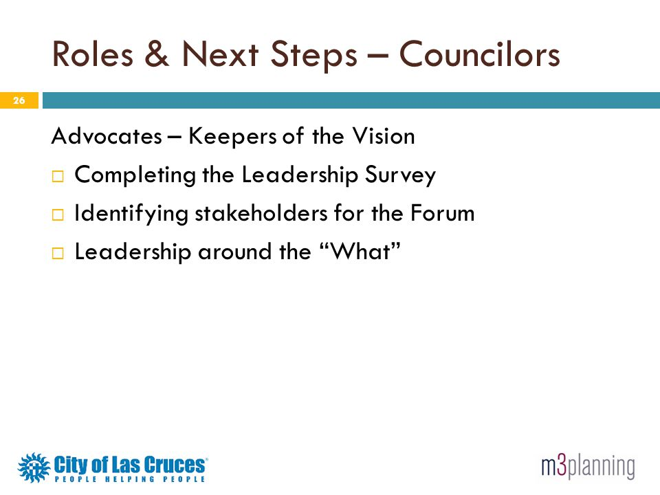 Roles & Next Steps – Councilors