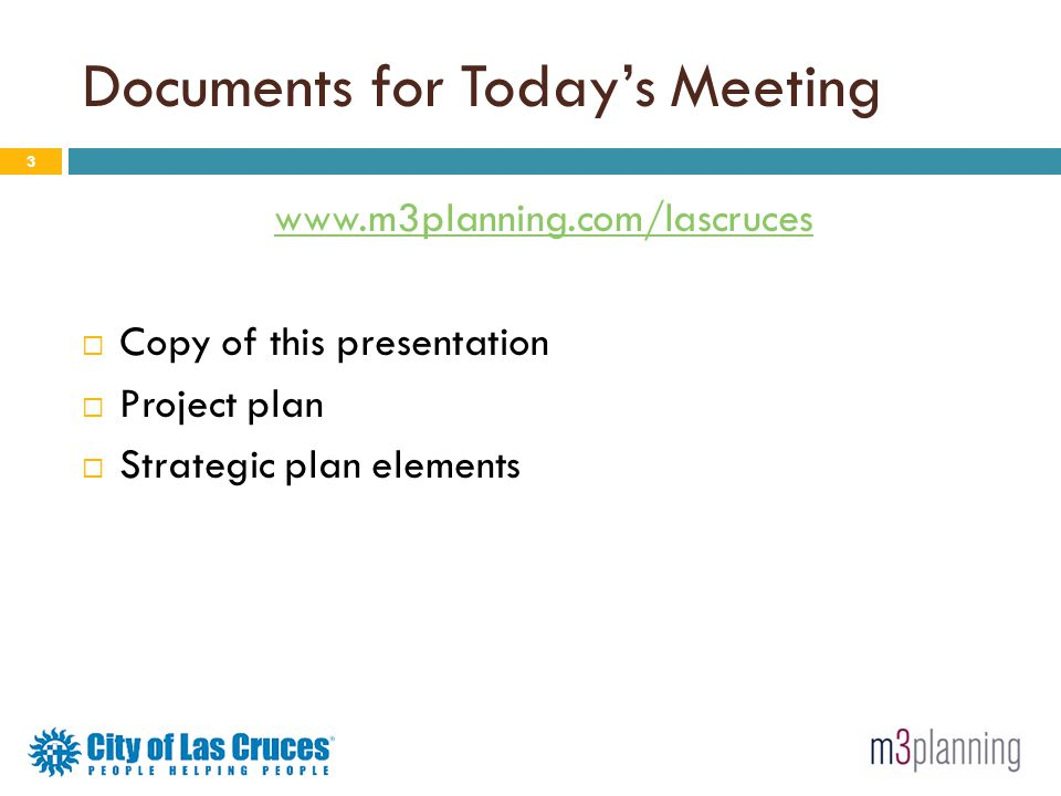 Documents for Today's Meeting