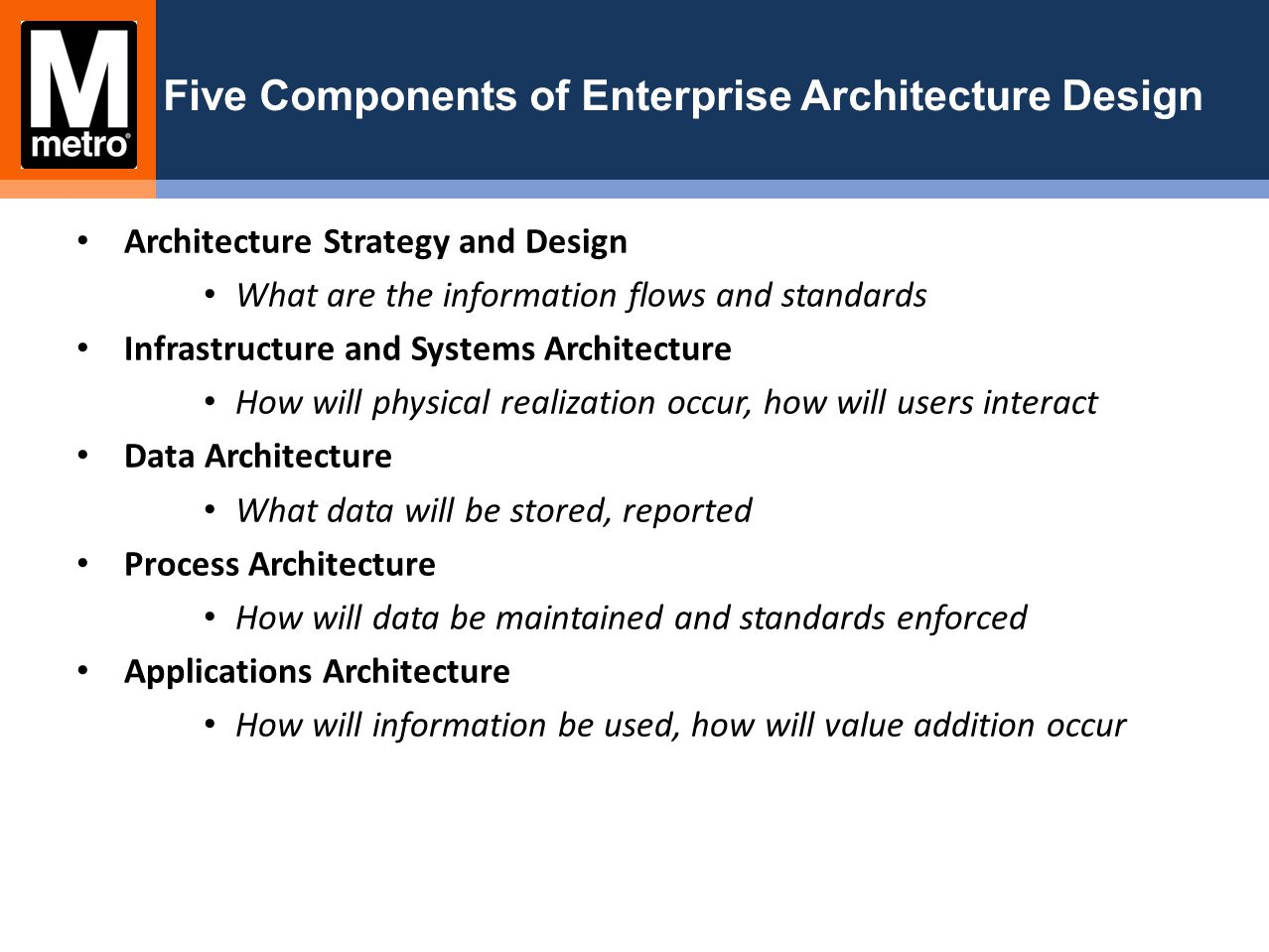 Five Components of Enterprise Architecture Design
